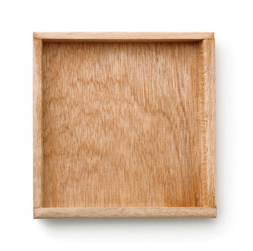 Top view of empty wooden tray