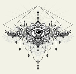 Abstract symbol of All-seeing Eye in Boho  Indian Asian Ethnic style for tattoo black on white for decoration T-shirt or for coloring page or adult coloring book. Concept magic occultism Esoteric