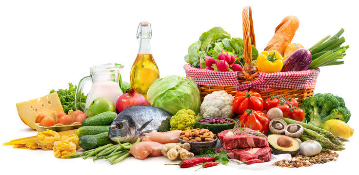 Selection of various paleo diet products for healthy nutrition