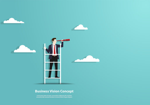 Successful vision concept with character of businessman and telescope