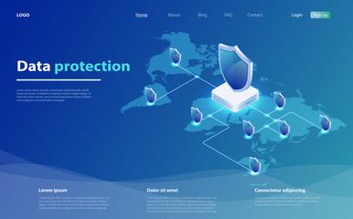 Data protection concept. Network data security. Safety, confidential data protection, concept with character saving code. Wall mural