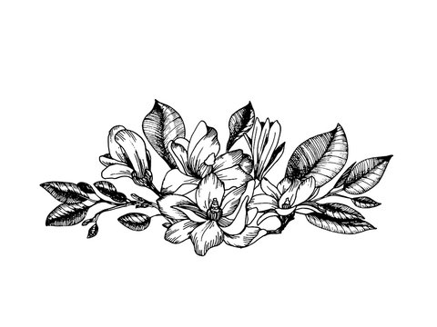 Composition in engraving style