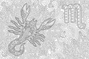 Coloring book page with zodiac sign scorpio