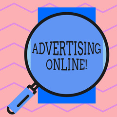 Text sign showing Advertising Online. Business photo text marketing strategy that involves the use of the Internet Round magnifying glass with iron handle frame to make object look bigger