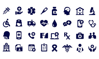 Exercise and Relaxation Icons black and white