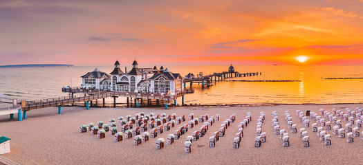 Sellin Pier at sunrise, Baltic Sea, Germany