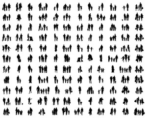 Silhouettes of families at walking on a white background