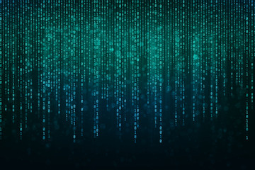Abstract Technology Binary code Background with binary data fall from the top of the screen.Digital binary data and Secure Data Concept Wall mural