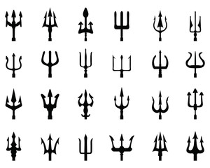 Set of trident, black silhouettes on a white background