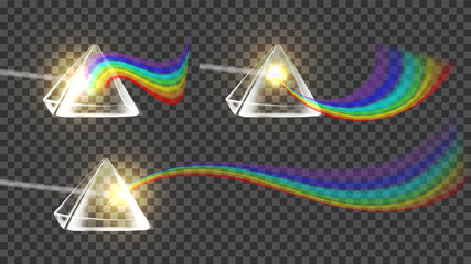 Prism And Spectrum Rainbow Collection Set Vector. Dispersion Of Visible Light Going Through Glass Prism On Temporary Background. Optical Effect Educational Realistic 3d Illustration