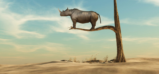 Spoed Fotobehang Beige Lonely rhino on tree