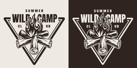 Monochrome camping season emblem