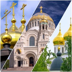 Collage pictures of golden cupola of Russian orthodox churches