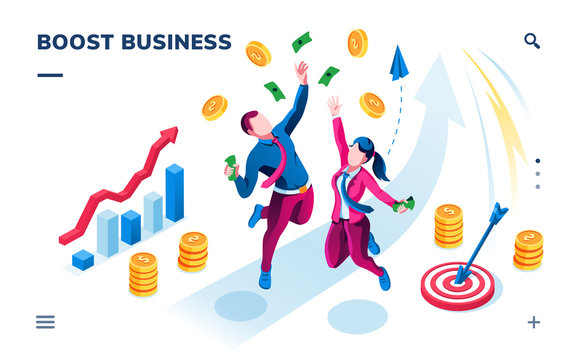 Isometric business banner for smartphone application. Boost startup, company or investment. Businessman, businesswoman catching cash and coins, rising chart with arrow. Financial profit theme