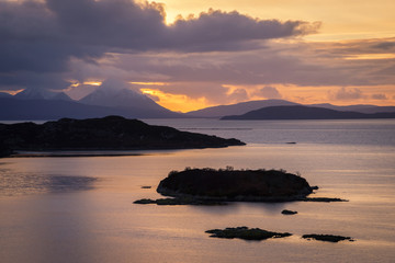 Sunset over the Cullins in Scotland