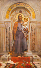 Wall Mural - OSSUCCIO, ITALY - MAY 8, 2015: The fresco of St. Joseph in church Sacro Monte della Beata Vergine del Soccorso by F. Grandi  (end of 19. cent.).