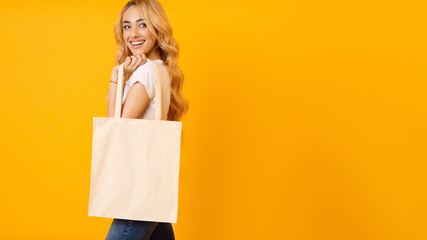 Ecology Concept. Woman With Blank Eco Bag