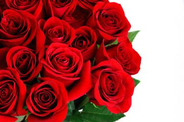 Fototapete - Fresh red roses bouquet flower background