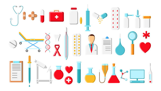 A large beautiful bright colored set of medical items and tools of a pharmacy or doctor's office, thermometer tablets syringes medication flasks on a white background. Vector illustration