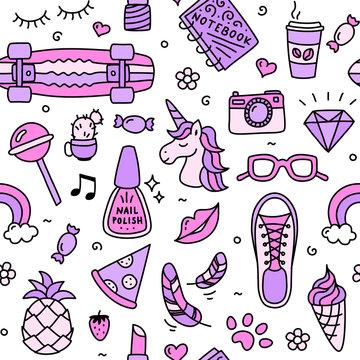 Teenager girl favorite cool things pink seamless pattern doodle