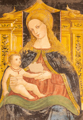 Fototapete - COMO, ITALY - MAY 8, 2015: The detail of fresco of Madonna in church Basilica di San Fedele by Andreas de Magistris 1504.
