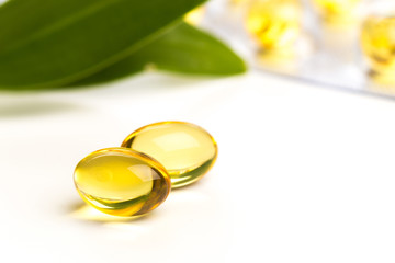 Fish oil in capsules. For health and immunity isolated on white