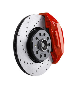 Car brake disc and red caliper isolated on white background