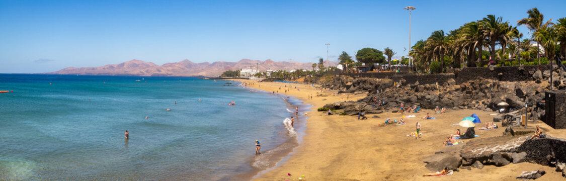 Sandy beach in Puerto del Carmen on Lanzarote