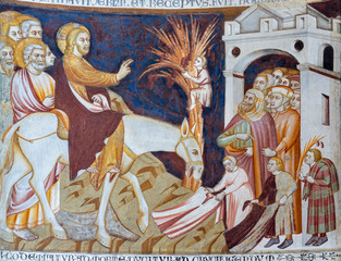 Wall Mural - COMO, ITALY - MAY 9, 2015: The old fresco of Entry of Jesus to Jerusalem (Palm Sundy) in church Basilica di San Abbondio by unknown artist