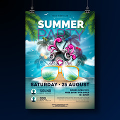 Summer Beach Party Flyer Design with flower, beach ball and sun glasses. Vector Summer nature floral elements, tropical plants and typographic elements on blue cloudy sky background. Design template