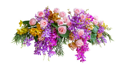 Wall Mural - Pink rose and tropical orchid flowers with green leaves floral arrangement nature wedding backdrop isolated on white background, clipping path included.