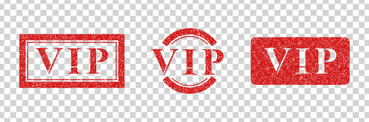 Vector set of realistic isolated red rubber stamp of VIP logo for template decoration on the transparent background. Concept of rating and feedback.