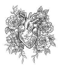 Anatomical heart in flowers in graphic style