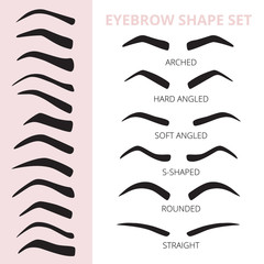 Eyebrow shape set. Vector