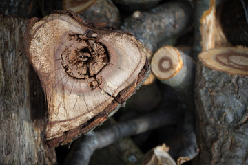 Close-up of a heart-shaped saw cut down firewood for heating a house, background or concept