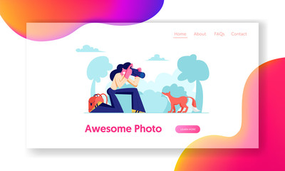 Woman Photographer Make Shot of Fox in Forest, Rest on Nature, Outdoor Activity, Girl Relaxing in Countryside, Leisure, Hobby. Website Landing Page, Web Page. Cartoon Flat Vector Illustration, Banner