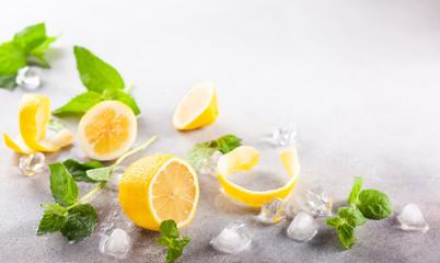 Ingredients for homemade refreshing summer lemonade. Fototapete