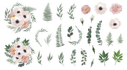 Set of floral branch. Anemones, pink rose, green leaves. Floral poster, invite. Set leaves, flowers,branches, herbs and other natural elements.