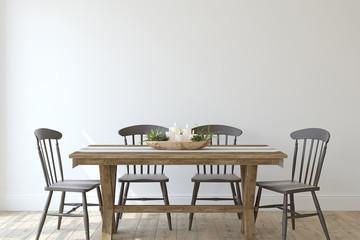 Modern farmhouse dining-room. 3d render. Fototapete