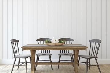 Modern farmhouse dining-room. 3d render.