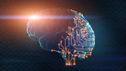 Human brain partially consists of circuit board Wall mural