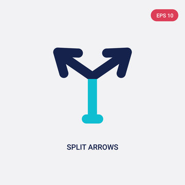 two color split arrows vector icon from arrows concept. isolated blue split arrows vector sign symbol can be use for web, mobile and logo. eps 10