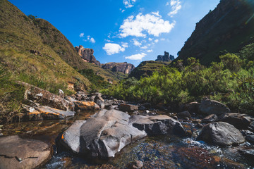 Scenic river and mountains while hiking, Drakensberg, South Africa