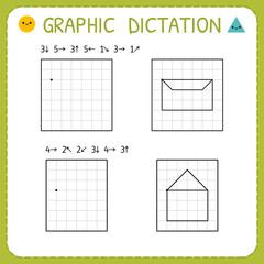 Graphic dictation. Kindergarten educational game for kids. Preschool worksheet for practicing motor skills. Working pages for children