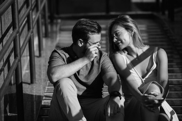 Couple in love looking at each other. Black and white photo
