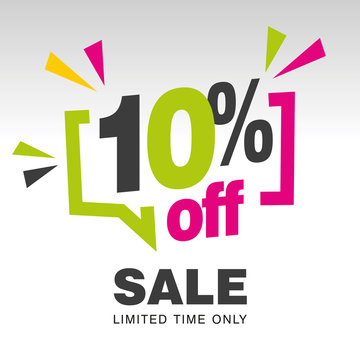 10 percent off sale modern green pink colorful white sticker icon banner