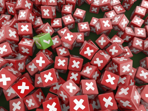 Abstract background, with yes and now symbols on infinite cubes; high quality 3d rendering