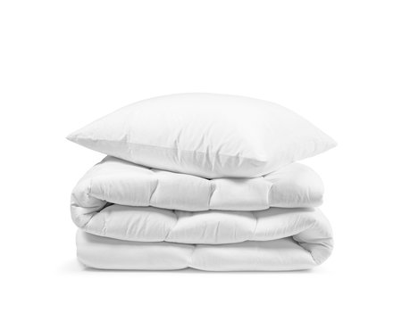 Stack of beddings on the white background, white pillow on the duvet isolated, bedding objects isolated against white background, bedding items catalog illustration, bedding mockup