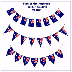 Bright set with flags of Australia for holidays. Vector illustration. Happy Australia day background. Illustration with white background.