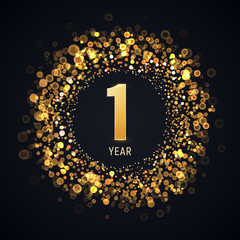1 year anniversary isolated vector design element. One first birthday logo with blurred light effect on dark background